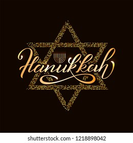 Inscription Happy Hanukkah with Menorah and candelabrum. Logotype, badge and icon typography. Calligraphy banner, flyer on textured background. Vector illustration. EPS 10