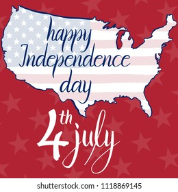 Inscription happy independence day 4th july, flag and map of the United States of America