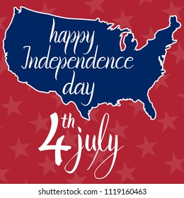 Inscription happy independence day 4th july and map of the United States of America