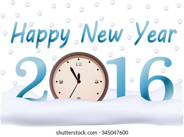 the inscription happy new year 2016, on the clock at five minutes to twelve, snowflakes and snow, winter, vector