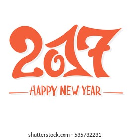 Inscription Happy New Year 2017 on white background, holiday lettering, illustration.