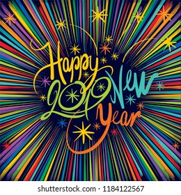 Inscription - Happy New Year 2019 - colorful fireworks
