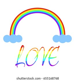 Inscription Love with colors of LGBT flag. Gay rainbow with letters. Gay pride symbol.