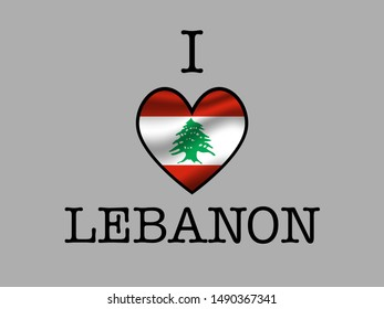 Inscription I LOVE wшер simply and beauty heart inside national flag of Lebanese Republic. original colors and proportion. Simply vector illustration, from countries flag set.