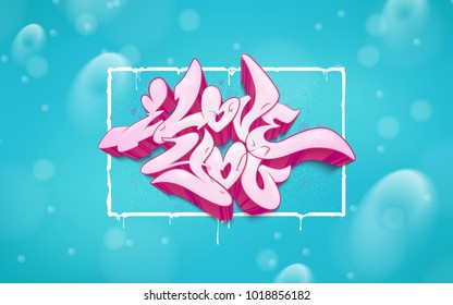 The inscription I love you. Vector illustration love greeting card with hearts for Valentine s day. A beautiful graffiti inscription.