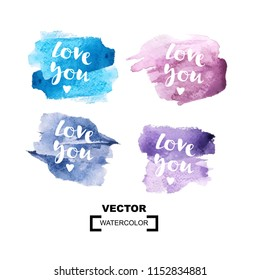 """Inscription """"Love you"""" with watercolor vector colorful background. Valentines Day greeting card. Love confession with rounded watercolour texture, uneven artistic edge."""