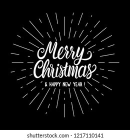 Inscription Merry Christmas Lettering Card with Vintage white rays hand drawing. Vector illustration isolated on black background. Chalk board concept