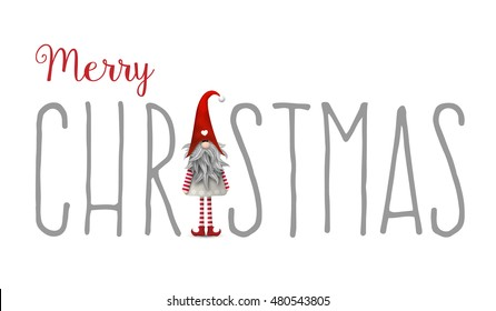 Inscription Merry Christmas, with scandinavian christmas traditional gnome named Tomte used as letter I, isolated on white background, vector illustration, eps 10 with transparency and gradient meshes