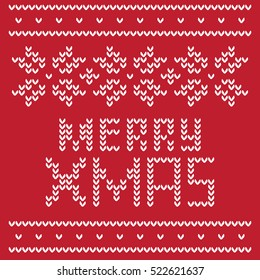 The inscription Merry Christmas written as if to warm knitted sweater. Caption supplement traditional pattern in the form of white snowflakes on a red background.