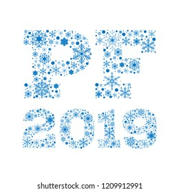 Inscription PF 2019 from blue snowflakes on white background - vector illustration