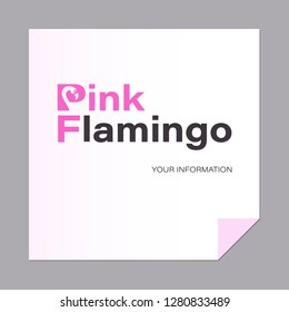 Inscription PINK FLAMINGO. A letter with a bird. Capital letters PF. Logo, emblem. The inscription can be used for environmental posters, a thematic site with a place for information.