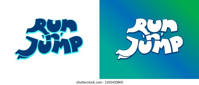 Inscription Run and jump. Letter R form running man, jumping style character J. Corporate sign for game company or sport service. Creative vector illustration
