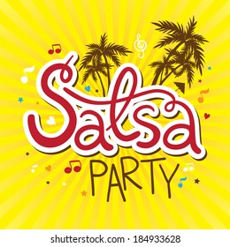 Inscription Salsa party with palms, music and confetti
