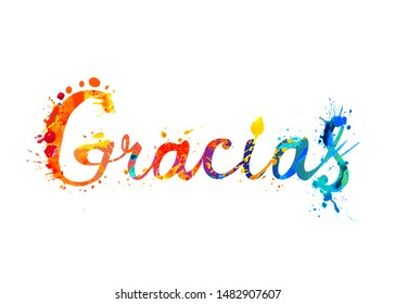Inscription in Spanish: Thank You (gracias). Vector splash paint