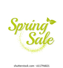 Inscription spring sale. Bright text with a circular green banner. Isolate on white background. Vector illustration template.