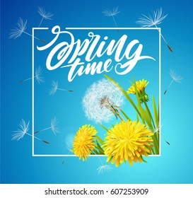 Inscription Spring Time. Vector dandelions with flying seeds on cloudy sky