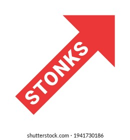 The inscription in stones on the red arrow of the growing graph. A modern internet meme, a neologism meaning a sharp rise in stocks. Color vector illustration