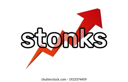 Inscription Stonks on a red arrow of a growing graph. A modern internet meme, a neologism meaning a sharp rise in stocks. Color vector illustration