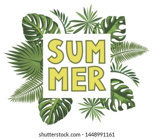 The inscription summer among exotic leaves. Vector illustration lettering summer for postcards.