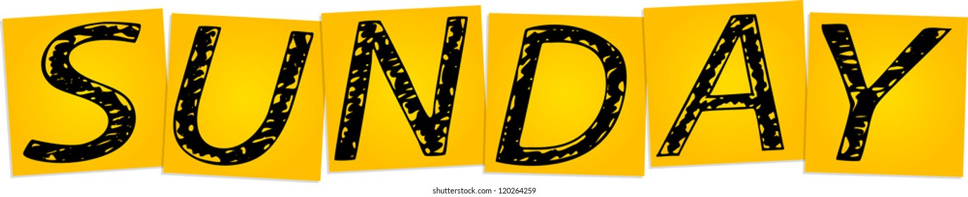 Inscription Sunday on the yellow square stickers - Shutterstock ID 120264259
