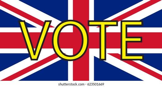 Inscription VOTE on the British flag.