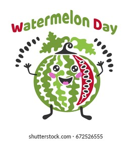 Inscription - Watermelon Day. Funny cartoon watermelon throwing his seeds.  Vector image for postcards, design, prints and your business