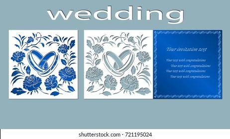 Inscription - wedding. Rings, vector, illustration, laser cut, Ring, Card. rose, flower, bouquet