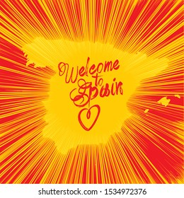 "Inscription ""Welcome to Spain"", vector image suitable for poster, banner or greeting card - Contour of Spain outlined by sparkles of fireworks and the colors of flag of Spain."