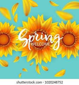 Inscription Welcome spring in background blooming flowers of sunflower and flying petals.Vector illustration
