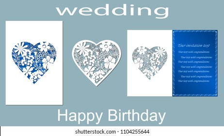 The inscription-happy birthday, wedding. ?hamomiles. Card heart flowers and space for text. Laser cutting template for greeting cards, invitations, decorative elements. Vector