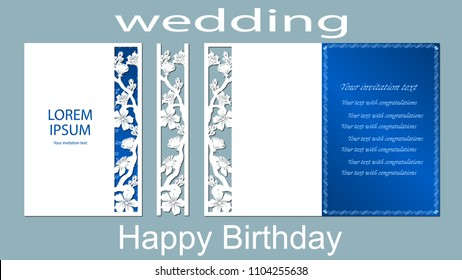 The inscription-happy birthday, wedding. Sakura. Card floral border and space for text. Laser cutting template for greeting cards, invitations, decorative elements. Vector