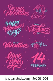 inscriptions dedicated to Valentine's day, calligraphy, handwritten text, greeting cards, birds and flowers
