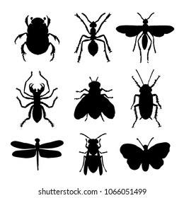Insect Animal Icon Flat Isolated Black Silhouette Bug Ant Butterfly Spider Vector