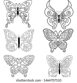 insect butterfly outline vector. nature coloring book set