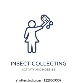 Insect collecting icon. Insect collecting linear symbol design from Activity and Hobbies collection. Simple outline element vector illustration on white background.
