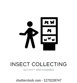 insect collecting icon vector on white background, insect collecting trendy filled icons from Activity and hobbies collection, insect collecting simple element illustration