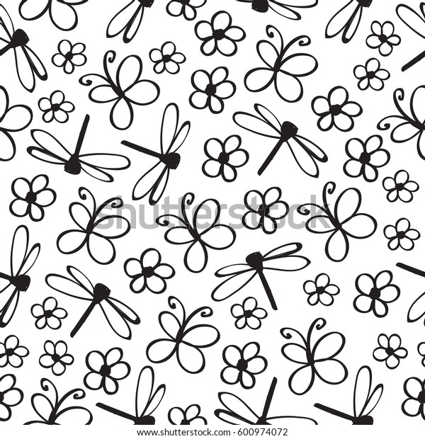 Insect doodle seamless pattern. Hand drawn monochrome spring wildlife background texture. Vector illustration.