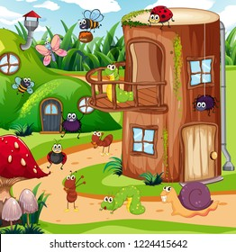 Insect in the fairy house illustration