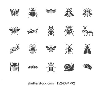 Insect flat glyph icons set. Butterfly, bug, dung beetle, grasshopper, cockroach, scarab, bee, caterpillar vector illustrations. Black signs for insects pest. Silhouette pictogram pixel perfect.