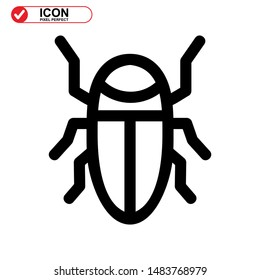 insect icon isolated sign symbol vector illustration. insect icon Black Color with Perfect pixel.