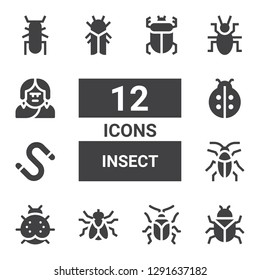 insect icon set. Collection of 12 filled insect icons included Bug, Beetle, Fly, Ladybird, Cockroach, Worm, Cicada, Troglodyte