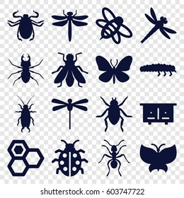 Insect icons set. set of 16 insect filled icons such as beehouse, dragonfly, beetle, ant, butterfly, fly, honey, bee, ladybug