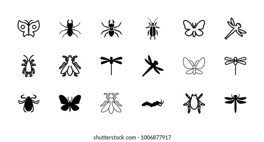 Insect icons. set of 18 editable filled and outline insect icons: dragonfly, butterfly, beetle, fly