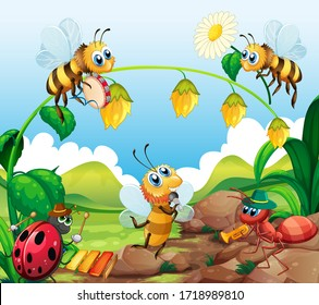 Insect music band in nature illustration
