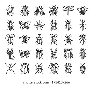 insect outline vector icons bug and garden concept