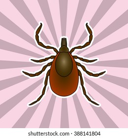 Insect silhouette. Sticker Tick parasite.  Mite.   Vector illustration