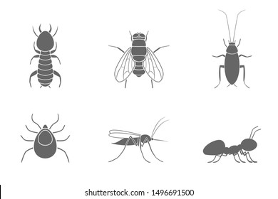 Insect silhouettes. Cockroach, termite, ant, mosquito, fly and tick. Icon set. Vector.
