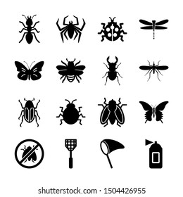 insect solid icons vector design