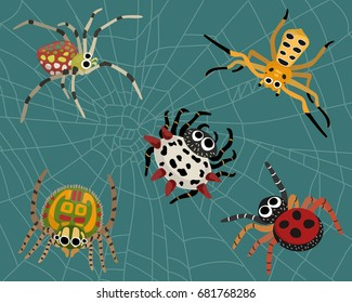 Insect spider nature cartoon include 5 types of spiders and spider web background.  Animal biology graphic vector and illustration.