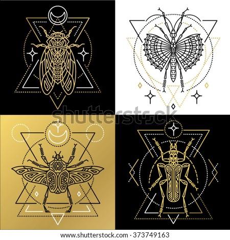 Insect Spiritual Geometric Symbol Set Tattoo Stock Vector Royalty